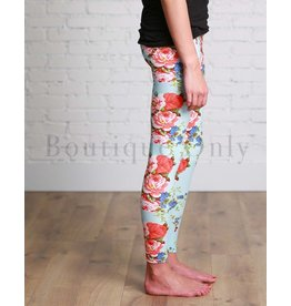 Boutique Only Leggings-Yoga Floral-Turquoise