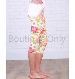 Boutique Only Leggings-Capri Yoga Floral, Ivory