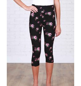 Boutique Only Leggings-Capri Yoga Floral, Black