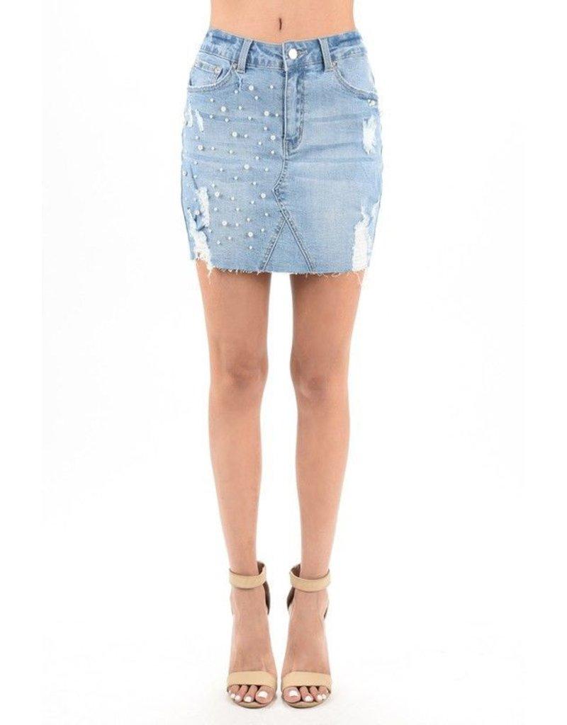 Hammer Collection Skirt-Denim with Pearls