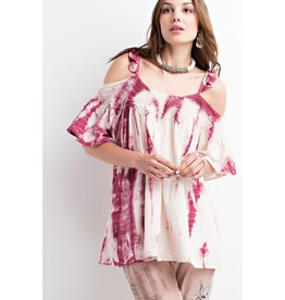 Easel Top-Open Shoulder, Tie Dye, Ruffled Tunic