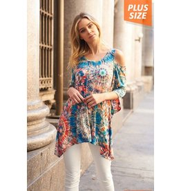 Nadia Collection Top-Open Shoulder, Geo Print Tunic
