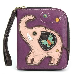 Chala Bags Wallet-Zip Around-Pink Elephant