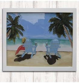 Art Studio Company Glass Art Frame-Adirondacks on Beach