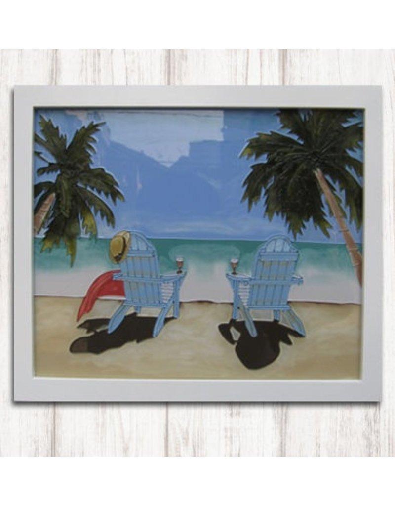Art Studio Company Glass Art Frame-Adirondacks on Beach