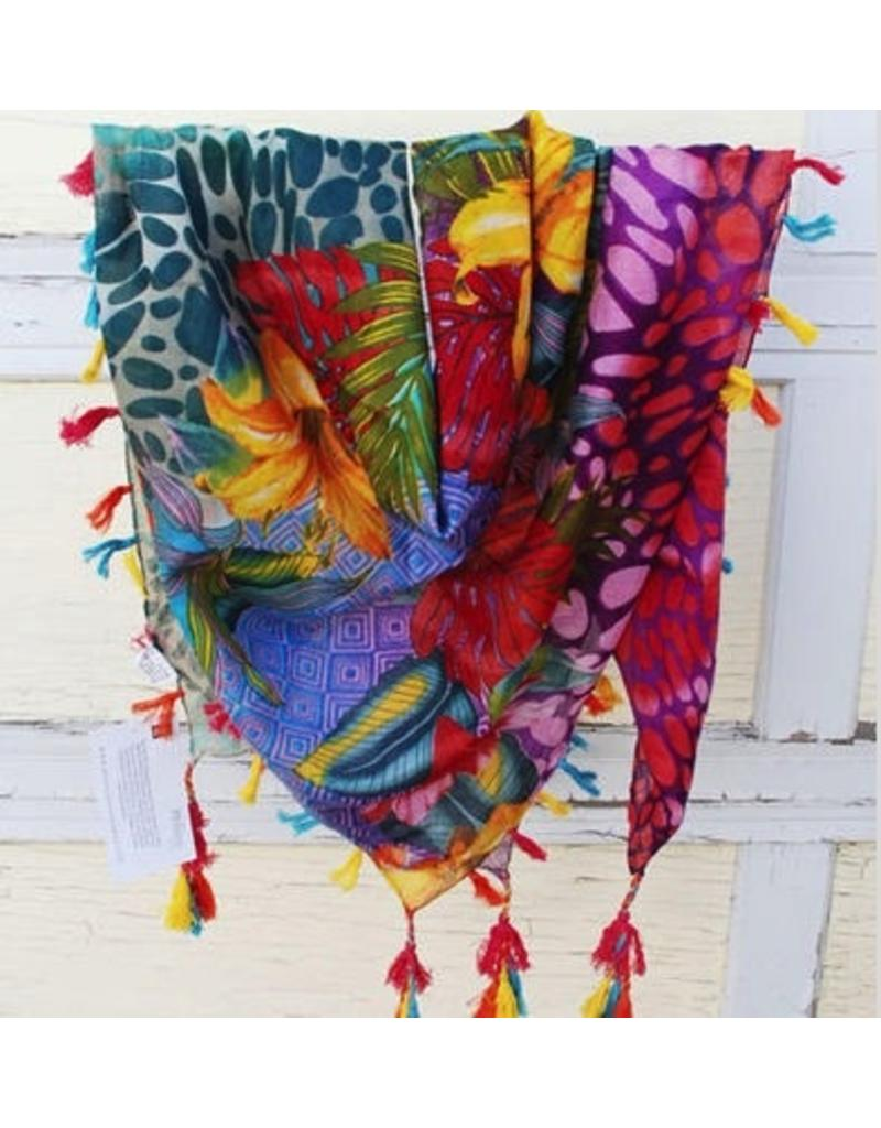 Art Studio Company Scarf Cotton-Tropical Floral (Fuchsia)