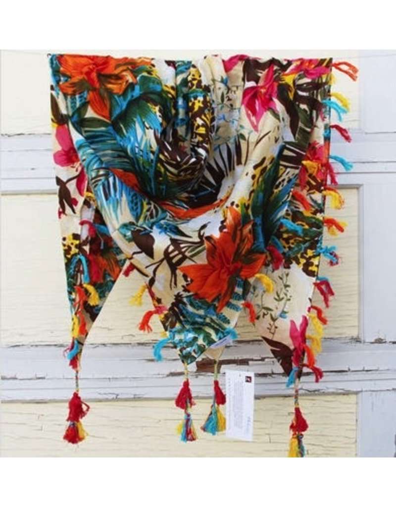 Art Studio Company Scarf Cotton-Tropical Floral (Hibiscus)