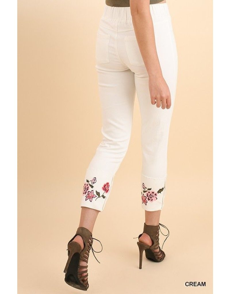 Umgee USA Jeggings-Floral Embroidered