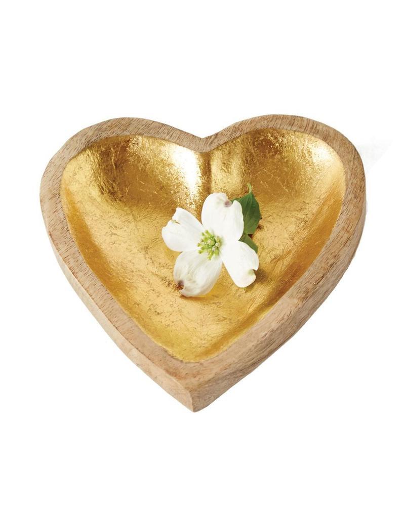Mango Wood Heart Bowl w/Gold Leaf - Cargo Trading Co