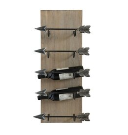 Wine Rack-Wood with Metal Arrows