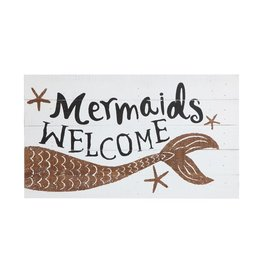 "Wall Decor-Sign ""Mermaids Welcome"" 26""x15"""