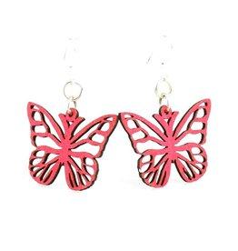 Green Tree Earrings Wood-Blossom Butterfly