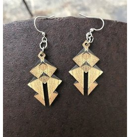 Green Tree Earrings Wood-Egyptian Pyramid