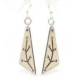 Green Tree Earrings Wood-New Growth Triangle