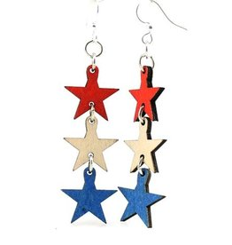 Green Tree Earrings Wood-4th of July Stars