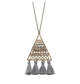 Canvas Jewelry Necklace-Beaded Triangle Tassel-GREY