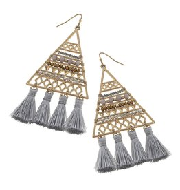 Canvas Jewelry Earrings-Beaded Triangle Tassel-GREY
