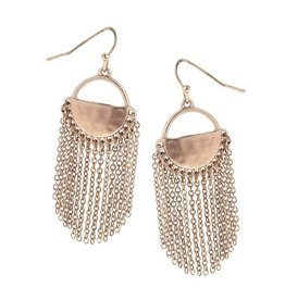 Canvas Jewelry Earrings-Half Moon Chain Fringe-BRONZE
