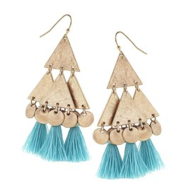 Canvas Jewelry Earrings-Triangle Disc Tassel-AQUA