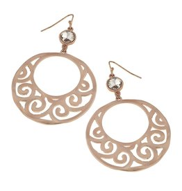 Canvas Jewelry Earrings-Linked Wavy Filigree-BRONZE