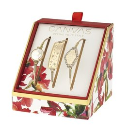 Canvas Jewelry Watercolor Box Set Gold Bangles (3) - Pearl, Celestial Bar & Pave