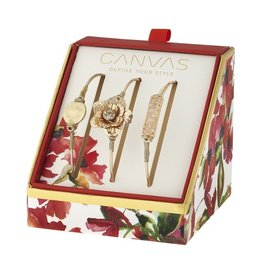 Canvas Jewelry Watercolor Box Set Gold Bangles (3) - Disc, Magnolia & Druzy Bar