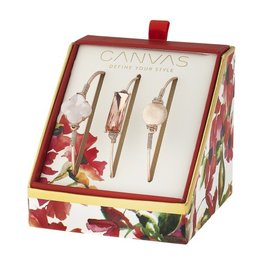 Canvas Jewelry Watercolor Box Set Rose Gold Bangles (3) - MOPearl, Quatrefoil Glass Bar, Pave Disc