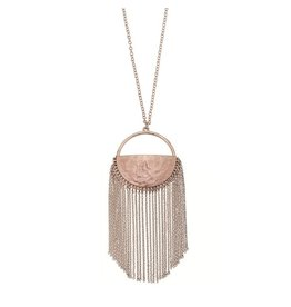 Canvas Jewelry Necklace-Half Moon Chain Fringe-BRONZE