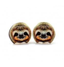 Green Tree Earrings Wood-Sloth Studs