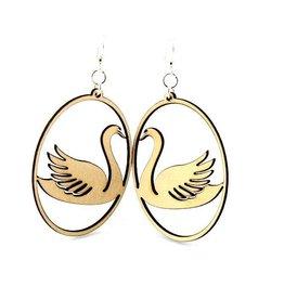 Green Tree Earrings Wood-Swan