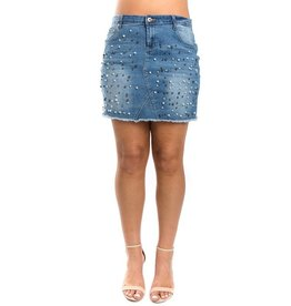 Monkey Ride Jeans Skirt-Denim with Full Pearls (1XL-3XL)