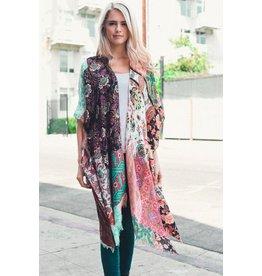 Leto Accessories Kimono-Boho Floral Patchwork