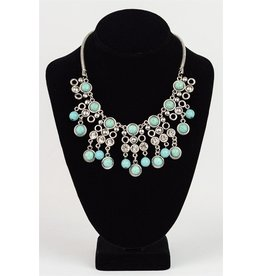Leto Accessories Necklace-Turquoise Drop Statement