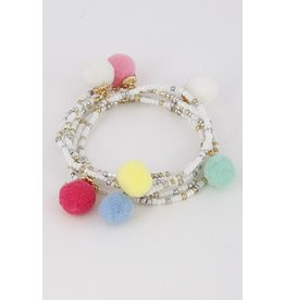 Anzell Fashion Bracelet-Pom Pom Beads-WHITE