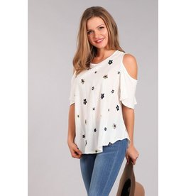 Chris & Carol Top-Cold Shoulder, Embroidered Flowers, White