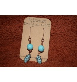 Brown Eyed Gal Earrings-Greek Patina Owls & Turquoise