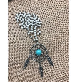 Turquoise Haven Necklace-Turquise Center Dreamcatcher with Beads