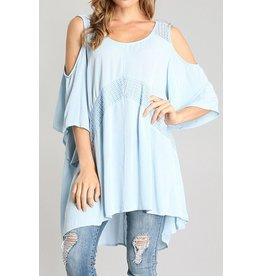 Sung Light Clothing Top-Cold Shoulder, Lace Trim, Flowy