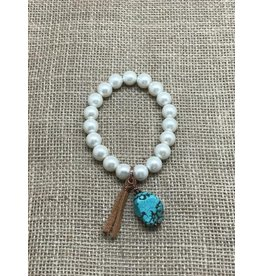 Turquoise Haven Bracelet-Pearl Stretch & Turquoise Nugget