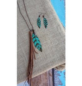 Turquoise Haven Necklace-Feather & Tassel