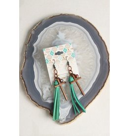 Turquoise Haven Earrings-Tiny Tassel Cross