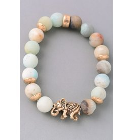 Fame Accessories Bracelet-Elephant & Natural Stones