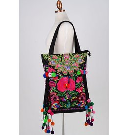 """Fame Accessories Tote-Embroidered Flowers & Pom Poms-18"""""""