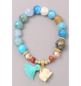 Fame Accessories Bracelet-Elephant, Tassel & Natural Stones