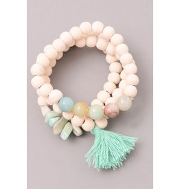 Fame Accessories Bracelet-Tassel & Mixed Natural Stones
