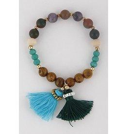 H&D Accessories Bracelet-Tassel Charm & Beads, Green