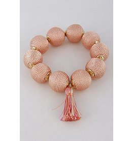 H&D Accessories Bracelet-Cotton Ball & Tassel, Peach