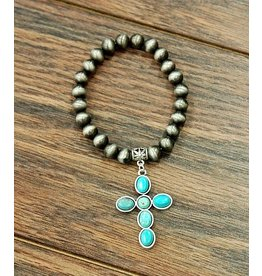 Isac Trading Bracelet-Navajo Pearl, Cross & Turquoise