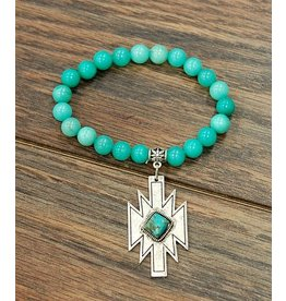 Isac Trading Bracelet-Cool Mint Gemstone & Turquiose Aztec Charm