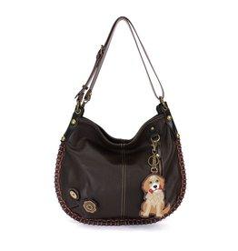 Chala Bags Shoulder Bag-Charming Hobo-Golden Retriever-Dark Brown